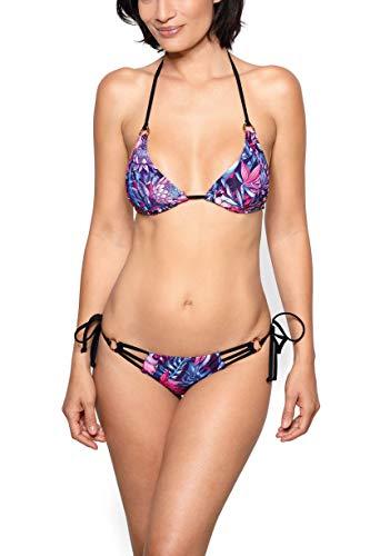 RELLECIGA Damen Bademode Triangel Bikini Set Goldene Ringe Rio M