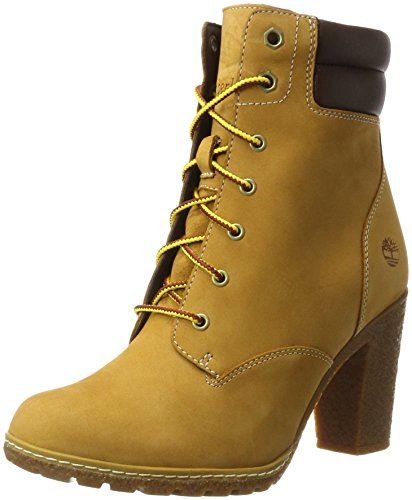 Timberland Tillston 6 inch Double Collar, Stivali Stringati Donna, Giallo Wheat Nubuck, 41 EU