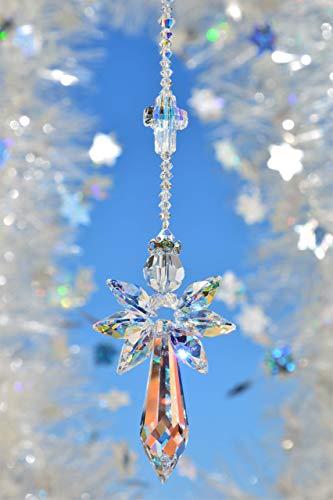 NEU*** Schutzengel in crystal AB mit Kristallkreuz -handgearbeitet aus funkelnden Kristallen von Swarovski-