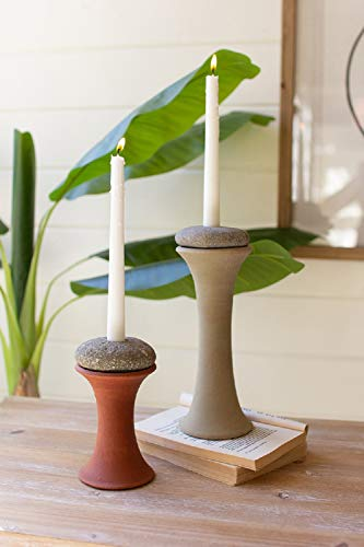 Kalalou H4097 Clay and River Rock Taper Candle Holders, Set of 2
