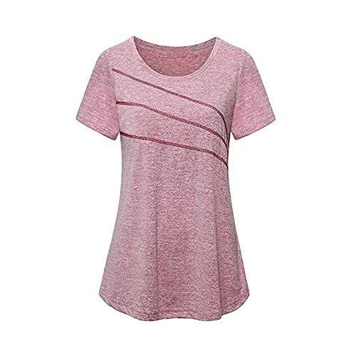 Sport T-Shirt Damen Fitness Sommer Rundhals Sportshirt Kurzarm Atmungsaktiv Schnell Trocken Elastisch Yoga Tops(Rosa,Medium)