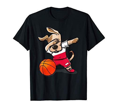Funny Dabbing Dog Basketball かわいい犬ポーランドバスケットボールポーランド国旗スポーツ Tシャツ