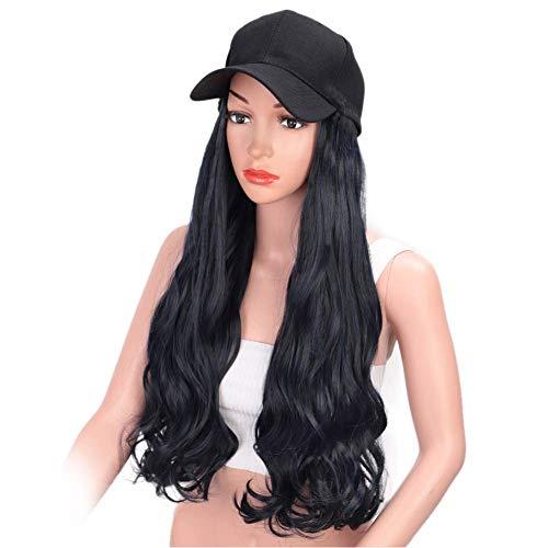 Giytoo Baseballpet met krullende golvende lange haren pruiken kunsthaar caps voor vrouwen meisjes D