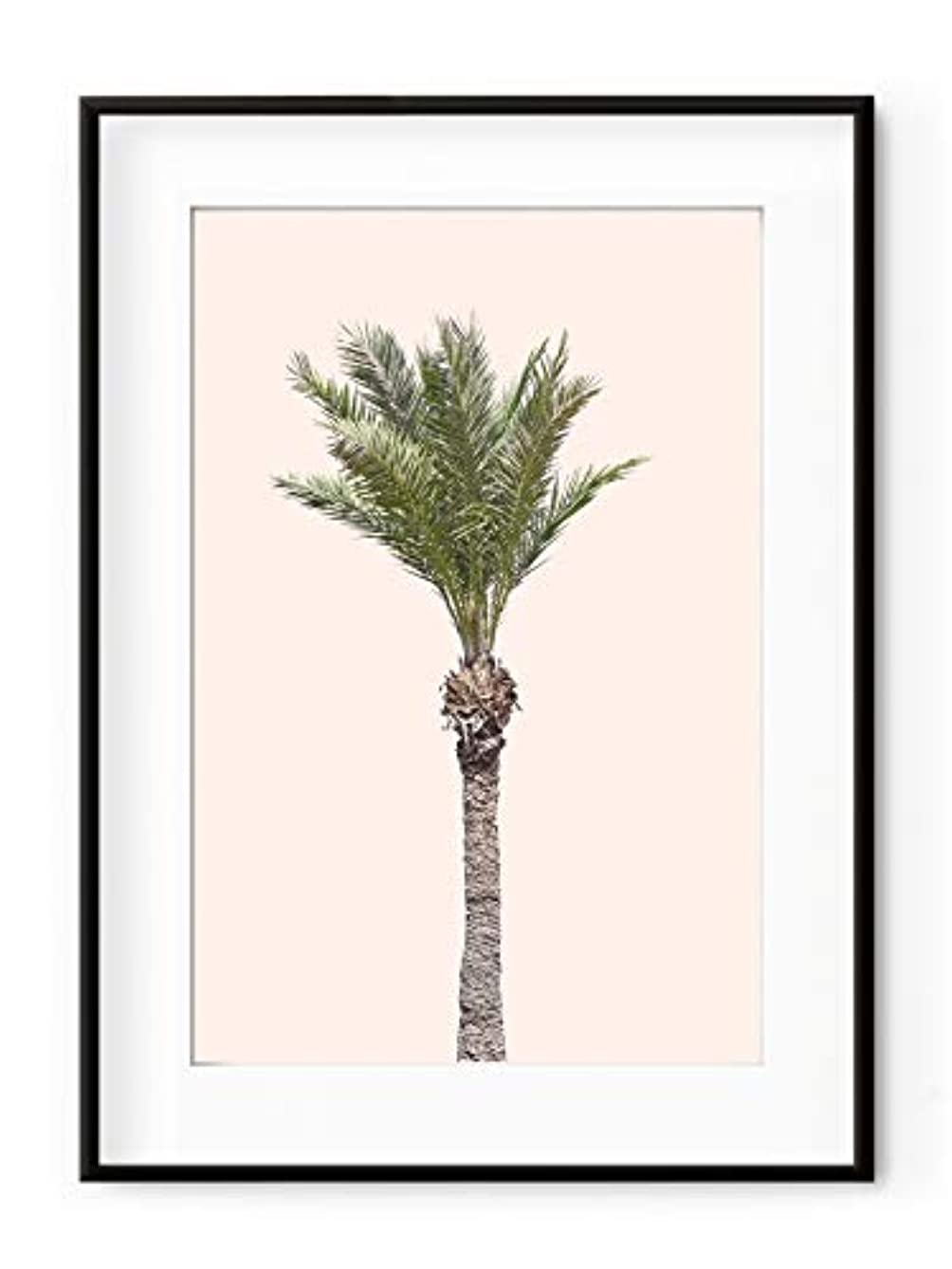 Palm Tree on Pink Background with White Lacquer Wooden Frame and Mount, Multicolored, 50x70