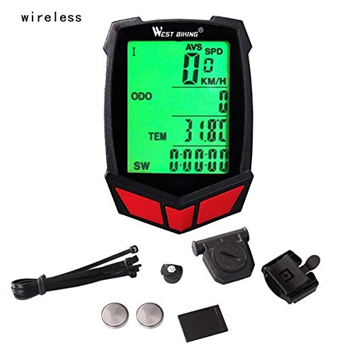 Mix Vogue Bicycle Computer Speedometer, Waterproof Cycling Odometer with Automatic Wake-up LCD Backlight for Outdoor Cycling and Best Gifts for Bikers (Color : Red, Size : Wireless)