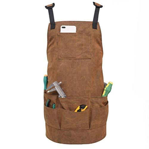 Gowsch Hochleistungs-Arbeitsschürze aus Segeltuch mit Taschen Schnellverschluss-verstellbare Werkzeugschürze für Männer und Frauen