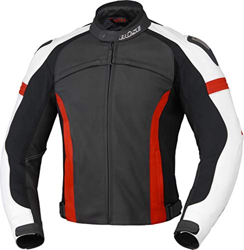 Büse Vermont Damen Motorrad Lederjacke Schwarz/Weiß/Rot 38
