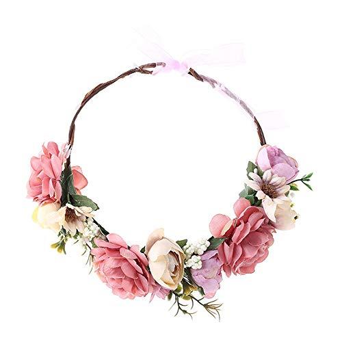 ZXLIFE@@@ Duurzame bloemenhaarkrans, bloemenkroon hoofdband, bruidsbloemen slingers met verstelbare band, maakt je aantrekkelijk, eenvoudig aan te passen en te dragen
