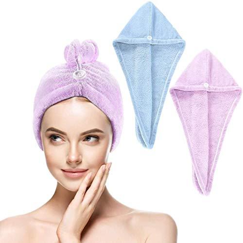 Juego de 2 toallas de microfibra para secar el pelo, pañuelo, toalla superabsorbente (con diseño de botones), puede absorber rápidamente la humedad, 60 x 20 cm