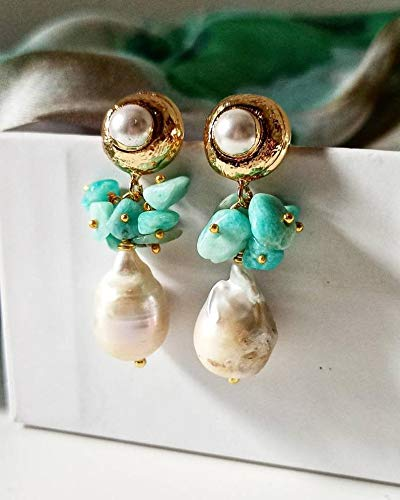 Orecchini a Goccia con Perle Barocche e Amazzonite