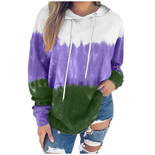 FOTBIMK Tie-Dye Hoodie Locker Kapuzenpullover Langarmshirt Frauen Sweatshirts Damen Sweatshirts Herbst-Winter Shirt Pullover Oberteil Top