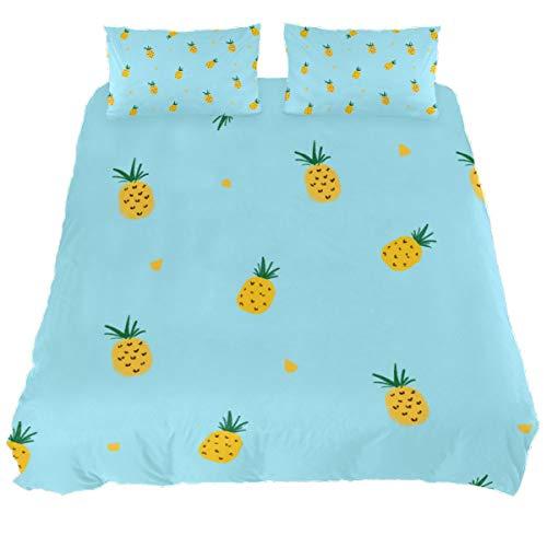 Audrey Brown Mattress Topper Bed Duvet Covers Summer Duvet Printed Duvet Cover Sheet Sets Size Winter Duvet Cover Yellow pineapple on blue background King