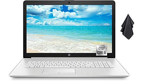 "2021 Newest HP 17.3"" FHD IPS LED Display Laptop, Intel Quad-Core i5-10210U Processor, 16GB Memory, 512GB SSD, DVD-RW, Webcam, Backlit Numeric Keypad, WiFi, HDMI, Win10 Home, Silver + Oydisen Cloth"