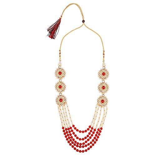 Efulgenz Juego de joyas indias con perlas de imitación de cristal, collar con cuentas de bollywood, Metal, desconocido,