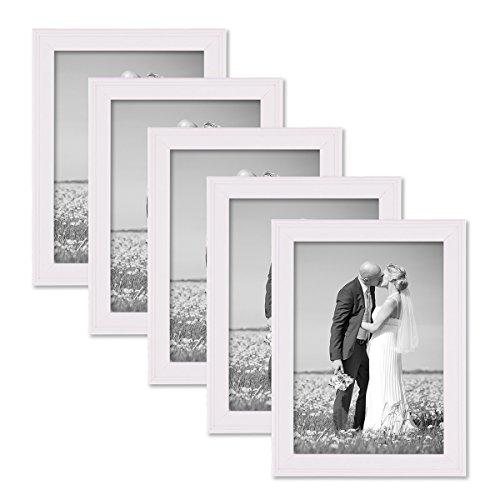 PHOTOLINI 5er Set Landhaus-Bilderrahmen 13x18 cm Weiss Massivholz mit Glasscheibe zum Stellen oder Hängen