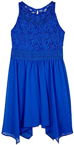 Amy Byer Girls Halter Fit and Flare Dress with Sharkbite Hem Cobalt 7 product image