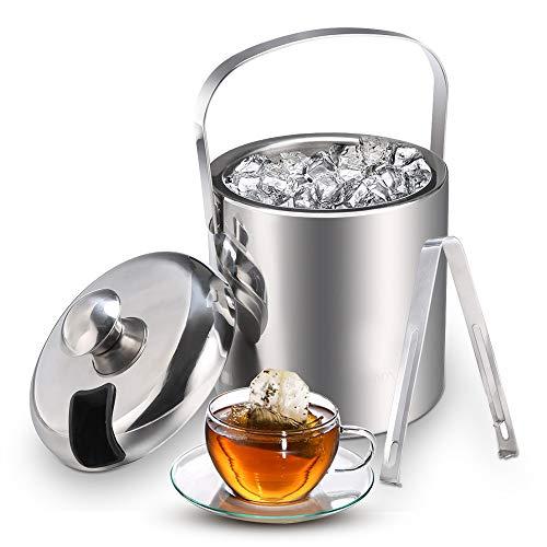 Secchiello per ghiaccio Secchiello in acciaio inossidabile con pinze e coperchio Secchiello per ghiaccio Champagne e Wine Cooler a doppia parete isolato per raffreddamento a lungo 1.3L, argento