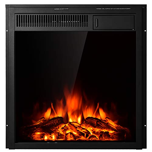 """Tangkula 22.5 Inch Electric Fireplace Insert, Freestanding & Recessed Electric Fireplace Heater with Remote Control, Adjustable Heater, 7 Log Hearth Flame Settings for Home Room Indoor (22.5"""")"""