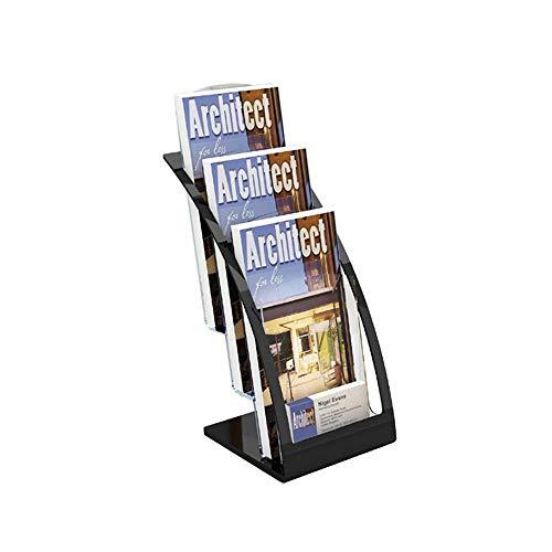 QZH Revistero Moderno y Simple Estante para catálogos de Tres Niveles Estante para revistas Estante para Escritorio de Alta Gama Caja para revistas (Negro, Talla única)