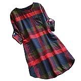 LUCKDE Damen Pullover Kleider, Karokleid aus elastischer Jerseyware Shirtkleider Strickkleid mit...