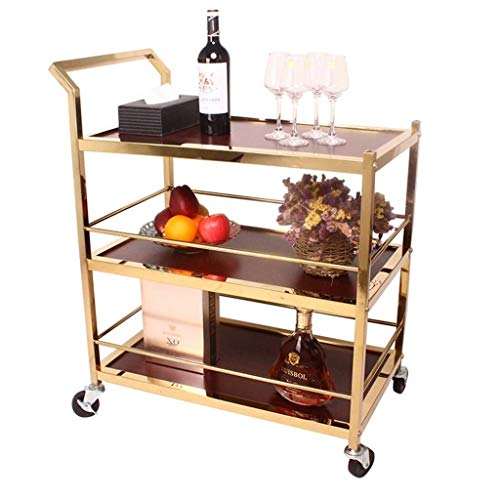 Luxuxgold Barwagen, Rollen Servierwagen mit Metallrahmen und 3 Tiere, leicht zu bewegen mit 4 Rädern, Ideal for Küche, Wohnzimmer, Hotel, Wein/Tee Servierwagen