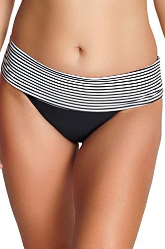 Panache Women's Anya Stripe Folded Bikini Bottom, Black/White, Large