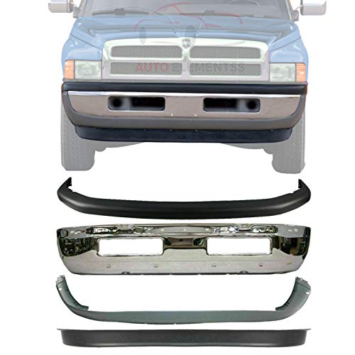 New Front Bumper Face Bar Chrome Steel + Upper + Lower Cover + Valance For 1994-2001 Dodge Ram 1500 / 1994-2002 Ram 2500 3500 Direct Replacement 55076614A 55076610AB 55274749 55274811