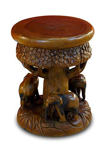 Kinaree Massivholz Beistelltisch TATAI - 43cm Blumenhocker aus Akazie in Form eines Baumes mit Elefanten