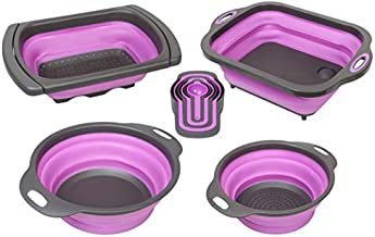 PurpleChef 10 PCS Collapsible Kitchen Silicone Over the sink Strainer, Colander, Mixing Bowl, Cutting Board, Measuring Cups Set
