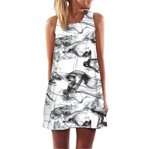 Neue schwarz weiß Rauch gedruckt 3D Strand kurzes Kleid 2019 ärmellose Tank eine Linie Skater Dress Casual sexy Party Mini Kleider, l