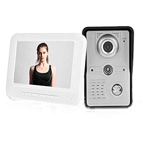 Kits de timbres de Video, Sistema de teléfono con cámara y cámara de Seguridad para el hogar, con Cable y Puerta, 7', con Cable y visión Nocturna(UE)