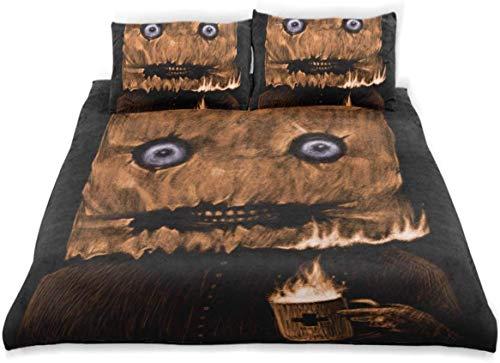 Yoyon Bettbezug-Set Mann Papiertüte über dem Kopf Dekoratives 3-teiliges Bettwäscheset mit 2 Kissenbezügen