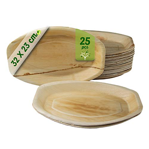 GoBeTree 25 Bandejas de Hoja de Palma de 32.5 * 23 cm, Bandeja Desechable ecológicos para cumpleaños, Fiestas, barbacoas, Bodas, Eventos y picnics, vajilla desechable Biodegradable.