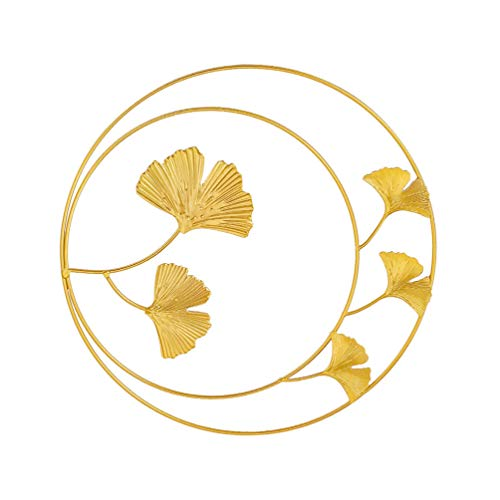 VORCOOL Golden Leaf - Colgador de pared redondo de hierro forjado para colgar en la pared (1 unidad)