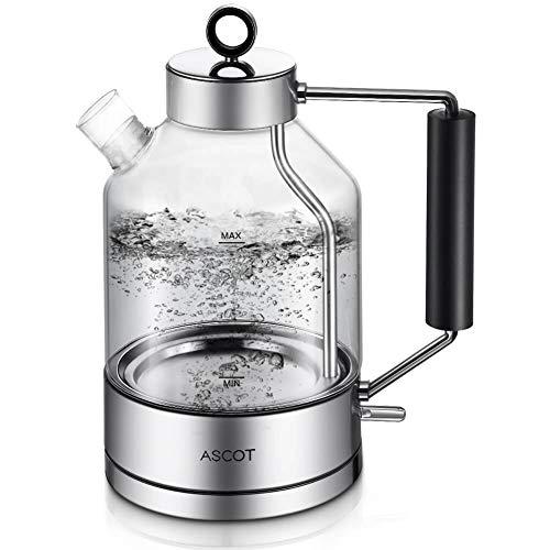 Wasserkocher Glas, ASCOT Glas Wasserkocher Elektrischer Wasserkocher Edelstahl, 2200W, 1,6L, Retro Design, BPA frei, leiser Schnellkochkessel, Trockengehschutz und automatische Abschaltung