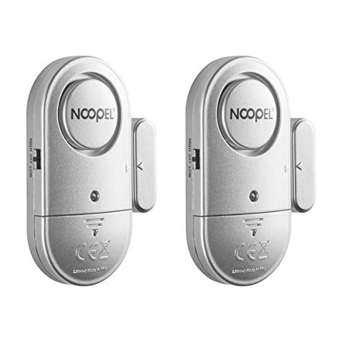 Window Door Alarm 2 Pack, New Version with Two Volume Levels,NOOPEL Wireless Magnetic Burglar Intruder Entry Alarm for Kids Toddlers Indoor Personal Safety