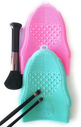 Siliconen make-up kwast reiniger mat, handschoen incl. haken voor ophangen, elastisch en opvouwbaar (Pink)
