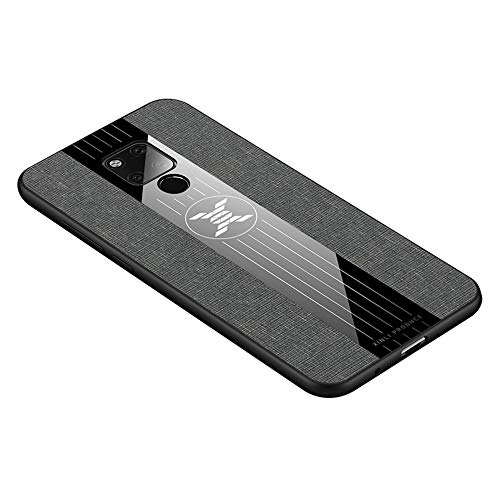 HAOYE Hülle für Huawei Mate 20X 5G Hülle, [ TPU Rahmen ] Handyhülle Schutzhülle, Stoff - Backcover Hülle Cover Canvas Design. Grau