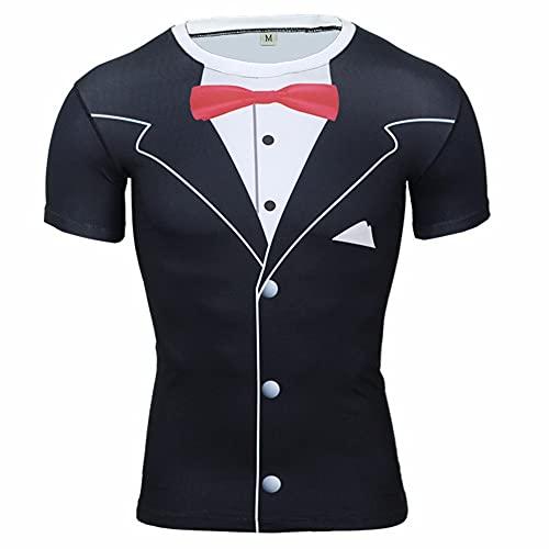 XPDD Unisex 3D Cartoon Print Work Out Compression Muscle T-Shirt Sport Shirts Men Cool Dry Running Tops Gym Tops Men Sport Dry Fit Tee Shirt Tshirt T-Shirt Short Sleeve Tennis Golf Bowling Tops Black