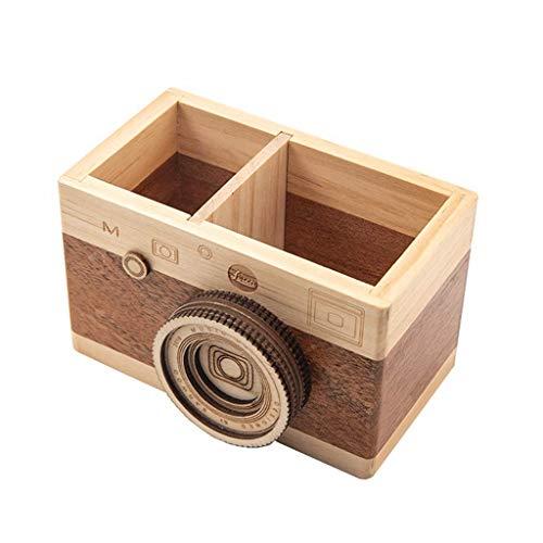 Titular de la pluma Cámara de almacenamiento Forma de la pluma de madera Soporte de pluma de gran capacidad Caja de la pluma de la pluma multifunción Barril de la pluma para la escuela y el escritorio