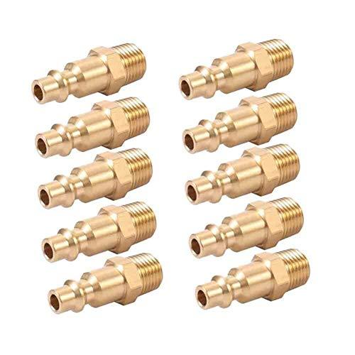Jjzhb PYunLi-Accesorios de tubería de latón 10pcs 1/4' NPT Latón acoplador del Enchufe Masculino del compresor de Aire de Manguera Conector rápido, Accesorios de Manguera de Agua