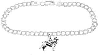 Sterling Silver Border Collie Dog on 4 Millimeter Charm Bracelet