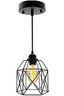 Pendant Lighting Fixture, Industrial Pendant Light Black Basket Cage, E26 E27 Base Vintage Retro Hanging Ceiling Lamp Max 660 Watts Hanging Light for Living Room Bedroom Kitchen