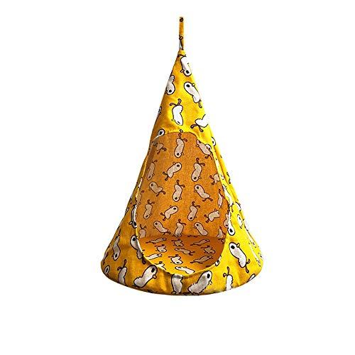Aqiong KAERMA Cat Tent Hammock Hanging bed tent kegelvorm ademend linnen spons tent hanging Cage creatieve pet Supplies huisdieraccessoires (maat: geel patroon (met stalen ring) S)