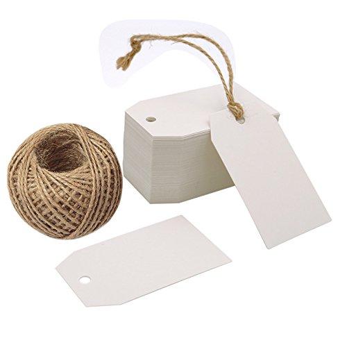 100Stk. Geschenkanhänger kraftpapier Etiketten Tags 4CM *7CM Anhänger Etiketten mit Jute-Schnur 30 Meter (Weiß)