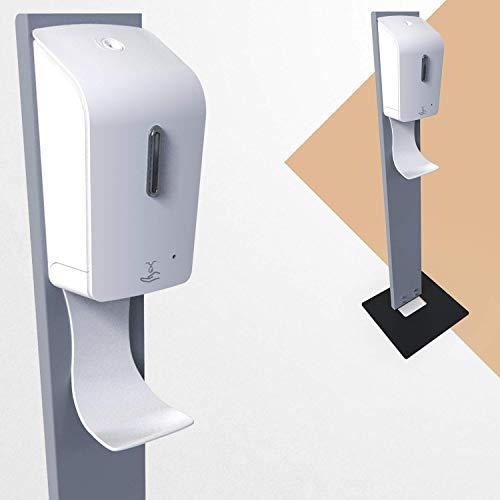 KLEMP Kontaktloser Desinfektionsspender mit Auffangschale, stehender Spender für Desinfektionsmittel, 1000ml, 117cm (Kontaktloser mit sensor)