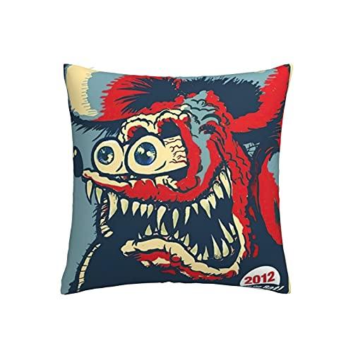 Funda de almohada de anime de Rat Fink suave funda de cojín con impresión 3D, funda de almohada cuadrada para sofá familiar o dormitorio, funda de almohada decorativa de 45,7 x 45,7 cm