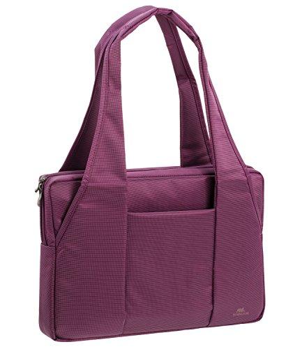 """RIVACASE Tasche für Laptops bis 15.6"""" – Schicke Notebooktasche mit viel Platz für Zubehör & Schutz durch gepolsterte Wände – Lila"""