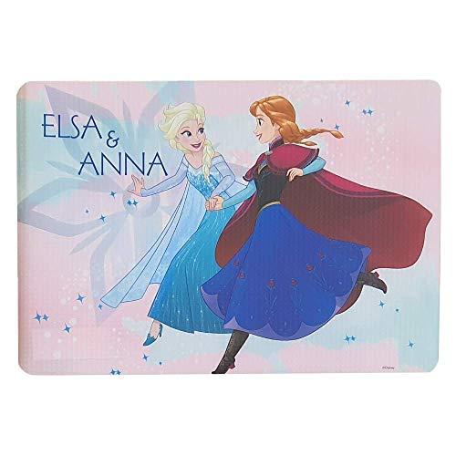 M.C. srl TOVAGLIETTA Frozen Disney Elsa Anna in PLASTICA Morbida Antiscivolo Ripiegabile Lavabile da Colazione Pranzo CM.44X30 - FR0639