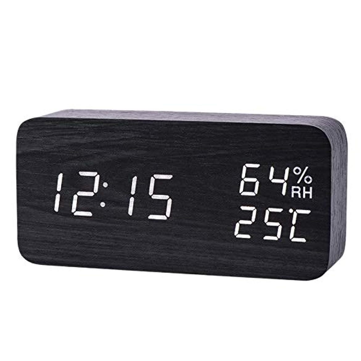 解凍する、雪解け、霜解け感じる乳白色Xigeapg モダンなLed目覚まし時計、温度、湿度、電子デスクトップのデジタル置時計、黒色 + 白色の字幕